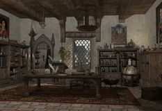 The Alchemist's Study. Alchemist's study with books, potions and instruments, 3d digitally rendered illustration Stock Photography