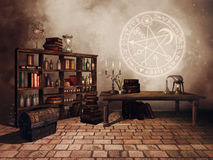 Alchemist`s study room royalty free illustration