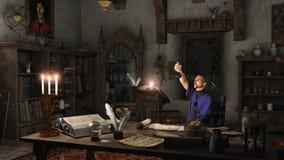 Alchemist in seiner Studie stock abbildung