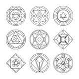 Alchemistische ronde reeks royalty-vrije illustratie