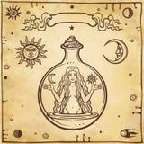 Alchemistische tekening: de jonge mooie vrouw in een reageerbuis stock illustratie