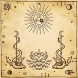 Alchemistische tekening: gevleugelde slangen, alle-ziet oog royalty-vrije illustratie