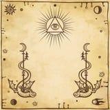 Alchemistische tekening: gevleugelde slangen, alle-ziet oog stock illustratie