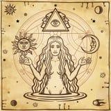 Alchemistische tekening: jonge mooie vrouw, Vooravond` s beeld, vruchtbaarheid, verleiding stock illustratie