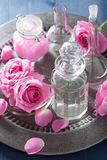 Alchemy and aromatherapy with rose flowers and chemical flasks.  Royalty Free Stock Photos