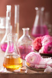 Alchemy and aromatherapy set with ranunculus flowers and flasks Royalty Free Stock Photography