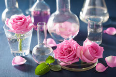 Alchemy and aromatherapy set with rose flowers and chemical flas. Ks Royalty Free Stock Image