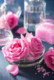 Alchemy and aromatherapy set with rose flowers salt and chemical Royalty Free Stock Images