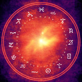 Alchemy background. Wheel with alchemy and astrology symbols Royalty Free Stock Photos