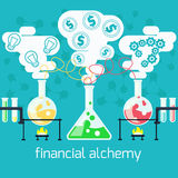 Alchemy generating money, ideas in laboratory Stock Images