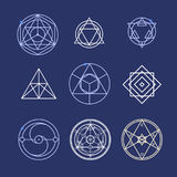Alchemy Geometry Symbol Thin Line Set. Vector Royalty Free Stock Photos