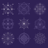 Alchemy Geometry Symbol Thin Line Set. Vector Royalty Free Stock Photography
