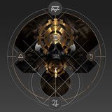 Alchemy gold. Abstract alchemy golden pentacle sign with skull and ancient signs stock illustration