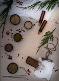 Alchemy Lab. dried herbs, salt, flasks, pipettes, recipes on the old canvas. top view. Alchemy Lab. dried herbs, salt, flasks, pipettes recipes on the old canvas Stock Images