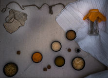 Alchemy Lab. dried herbs, salt, flasks, pipettes, recipes on the old canvas. top view Royalty Free Stock Photos
