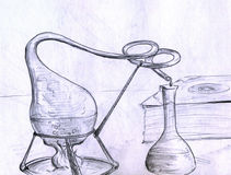 Alchemy lab things. Alchemy / chemistry lab with test tube, flask, book, fire and a chemical reaction in process Royalty Free Stock Photos