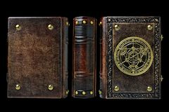 Alchemy leather book with gilded transmutation circle in center of the front cover, attributed to a German alchemist from the 17th