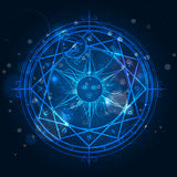 Alchemy magic circle on blue background Royalty Free Stock Photos