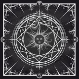 Alchemy magic circle on chalkboard background Stock Photos