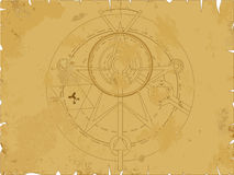 Alchemy pentagram. Old scroll with alchemy pentagram, vector illustration Stock Photography