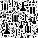 Alchemy seamless pattern. Black elements on white background. Stock Images