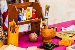 Alchemy. Some aromatherapy or alchemic items on a table stock photo
