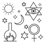 Alchemy, spirituality, occultism, chemistry, magic symbols Stock Photos