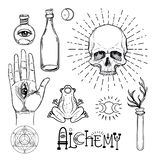 Alchemy symbol icon set. Spirituality, occultism, chemistry, mag. Ic tattoo concept. Vintage vector illustration collection with mystic and occult signs royalty free illustration