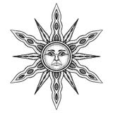 Alchemy Symbol of Sun - Vector Illustration Stylized as Engraving Royalty Free Stock Images