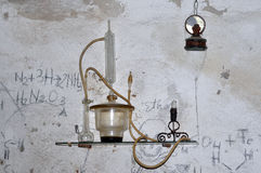 Alchemy tool. Wizard style alchemy tool wall shelf with lamp Stock Images