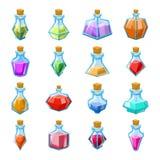 Alchemy witch magic beverage elixir potion poison antidote glass bottle icons set isolated cartoon game design vector. Alchemy witch magic beverage elixir potion stock illustration