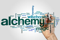 Alchemy word cloud concept on grey background Stock Photography