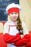Alchevsk Ukraina, Styczeń, - 21, 2018: dziecko w formie szefa kuchni pozować Zdjęcie Royalty Free