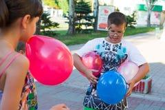 Alchevsk, Ukraine - August 3, 2017: Children`s games run around Royalty Free Stock Images