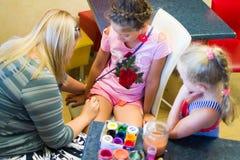 Alchevsk, Ukraine - July 27, 2017: Children`s body painting stock images