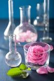 Alchimie en aromatherapy reeks met roze bloemen en chemische flas stock fotografie