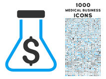 Alchimie-Ikone mit 1000 medizinischen Geschäfts-Ikonen Stockfotos