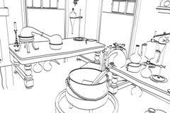 Alchimielaboratorium stock illustratie