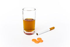 Alchool, cigarette, drogues Image stock