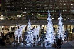 Alci ed albero di Natale luminosi a Stoccolma Fotografia Stock Libera da Diritti