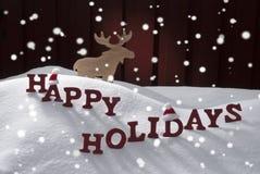 Alci felici Santa Hat dei fiocchi di neve della neve di feste Immagine Stock Libera da Diritti