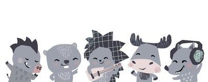Alci, istrice, lupo, verro, insegna sveglia della banda del musik del castoro Gli animali ballano, chitarra dei giochi, lisen le  immagini stock libere da diritti