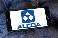 Alcoa Corporation logo. Logo of Alcoa Corporation on samsung mobile. Alcoa is an American industrial corporation. It is the world`s fifth largest producer of Royalty Free Stock Photos