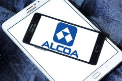 Alcoa Corporation logo. Logo of Alcoa Corporation on samsung mobile. Alcoa is an American industrial corporation. It is the world`s fifth largest producer of Stock Photo