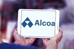 Alcoa Corporation logo. Logo of Alcoa Corporation on samsung tablet . Alcoa is an American industrial corporation. It is the world`s fifth largest producer of Royalty Free Stock Photo