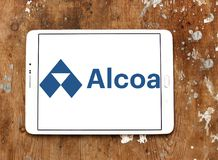 Alcoa Corporation logo. Logo of Alcoa Corporation on samsung tablet on wooden background. Alcoa is an American industrial corporation. It is the world`s fifth Royalty Free Stock Images