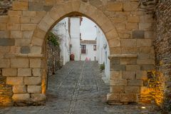 Alcoba gate in the old walls of Monsaraz. View the Alcoba gate in the old walls of Monsaraz, Portugal Royalty Free Stock Image