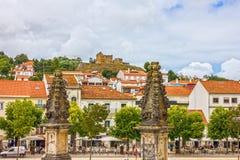 Alcobaca stad och medeltida Roman Catholic Monastery, Portugal arkivfoton