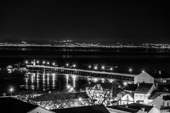 Alcochete by night B&W royalty free stock image
