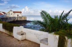 Alcochete. View of the coastline in the village of Alcochete in Portugal stock photo
